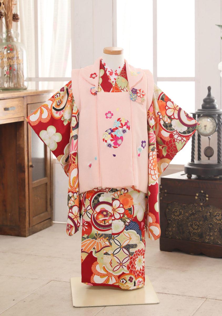 3-181kRE-O mini夢 赤×ピンク被丸紋