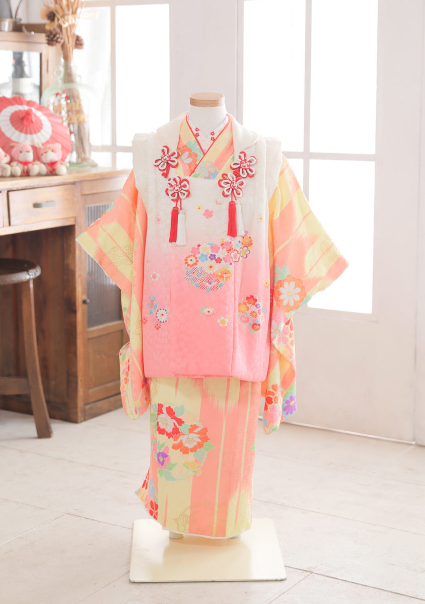 3-164 正絹 黄色×ピンク 矢羽