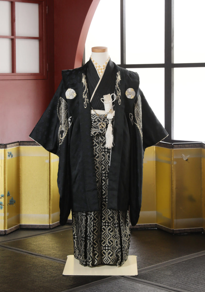 5-217kBK-O ひさかたろまん 黒龍刺繍 袴60-75