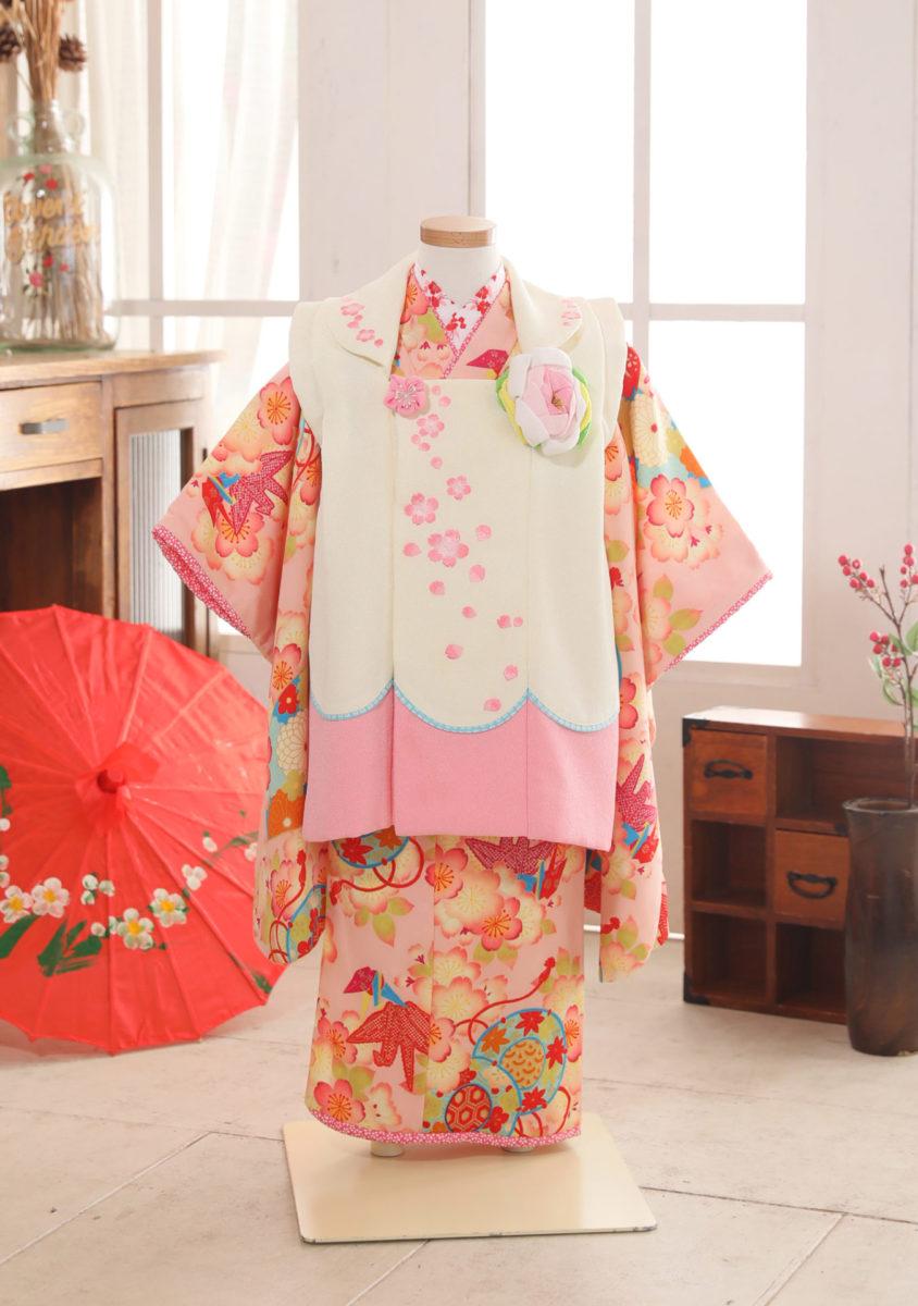 3-180kPI-O ピンク×白被桜刺しゅう