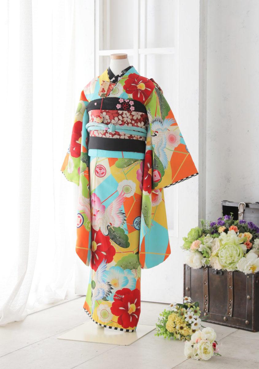 7-16kSB-O JAPANSTYLE ブルー 椿に鶴