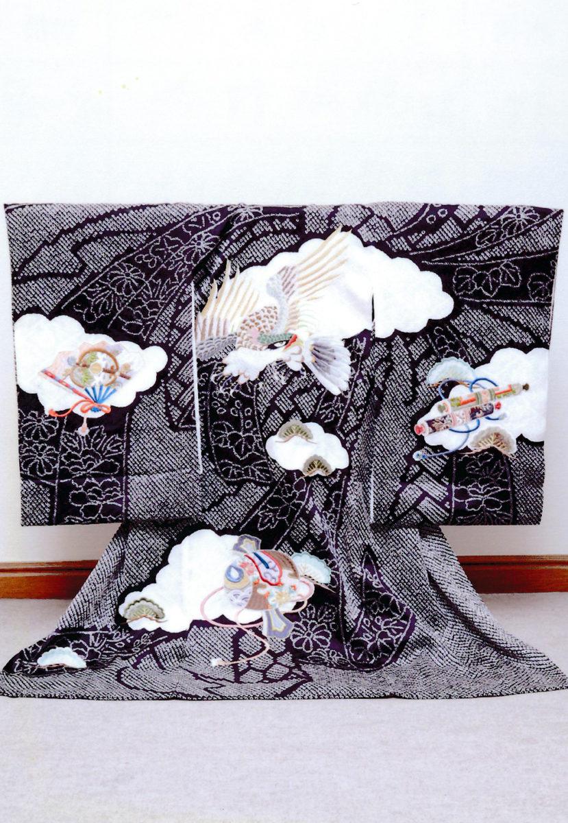 黒絞り風鷹刺繍 正絹-14